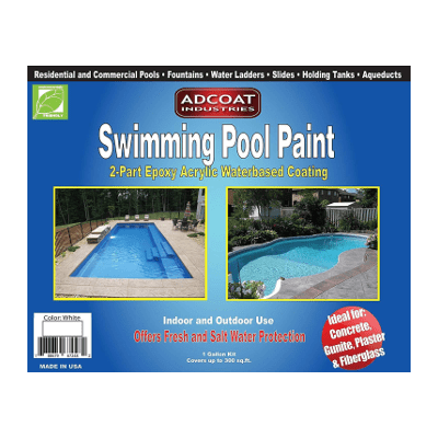 ADCOAT Swimming Pool Paint - White - 2 Part Epoxy Acrylic Waterbased  Coating - 1 US Gallon